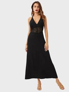 Elite Occasions Lace Insert Open Back  Dress