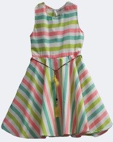 Starlight Kids Girls Cotton Dress Multi Colour Stripe