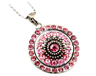 Urban Charm Snap Creations Necklace Set with Interchangeable Snap - Pink Crystals