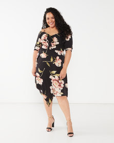Utopia Plus Floral Floaty Dress Black