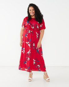 Utopia Plus Printed Maxi Tunic Dress Red