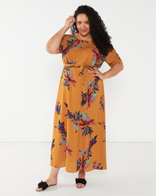 Utopia Plus Printed Maxi Tunic Dress Mustard