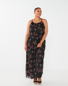 Utopia Plus Floral Strappy Maxi Dress Black