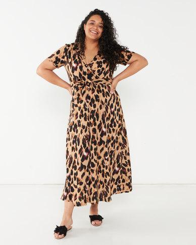 Utopia Plus Animal Print Wrap Dress Multi