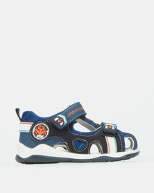 Bubblegummers Boys Sandals With Adhesive Strap Close Front Shoe Navy