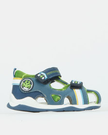 Bubblegummers Boys Sandals With Adhesive Strap Close Front Shoe Blue