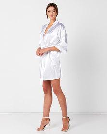 Cosmo Bridesmaid Champagne Robe - White embroidery