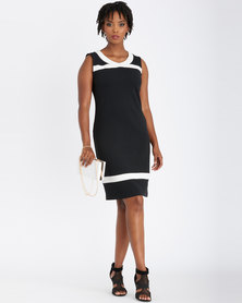 Contempo Sleeveless Colour Block Dress Black