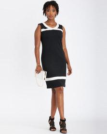 Contempo Sleeveless Colour Block Dress Black
