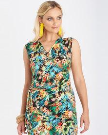 Contempo Printed Drape Front Dress Multi