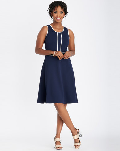 Contempo Piped Front Flare Dress Navy