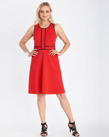 Contempo Piped Front Flare Dress Red