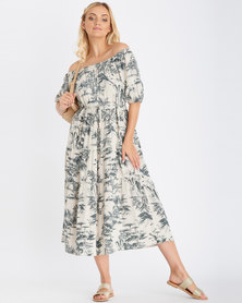 Contempo Printed Off Shoulder Dress Stone
