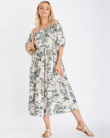Contempo Printed Off Shoulder Dress Stone