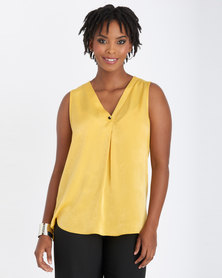 Contempo V-Neck Top With Button Yellow