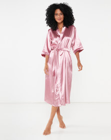 Bling Happiness Bride Midi Dressing Gown Dusty Pink