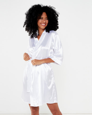 Bling Happiness Satin Bride Dressing Gown Ivory