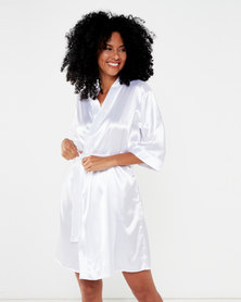 Bling Happiness Bride white short dressing gown