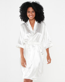Bling Happiness Bride Knee Length Dressing Gown Ivory
