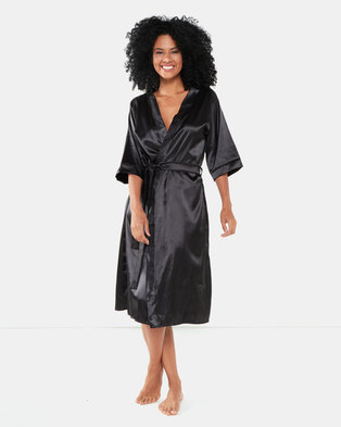 Bling Happiness Bride Long Length Dressing Gown Black