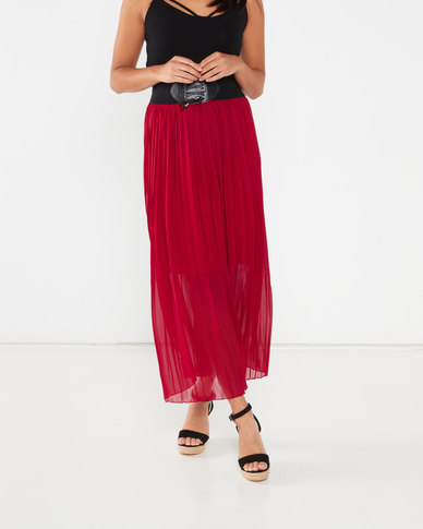Utopia Pleated Skirt With PU Trim Burgundy