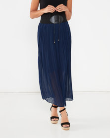 Utopia Pleated Skirt With PU Trim Navy