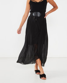 Utopia Pleated Skirt With PU Trim Black