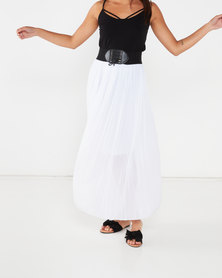 Utopia Pleated Skirt With PU Trim White