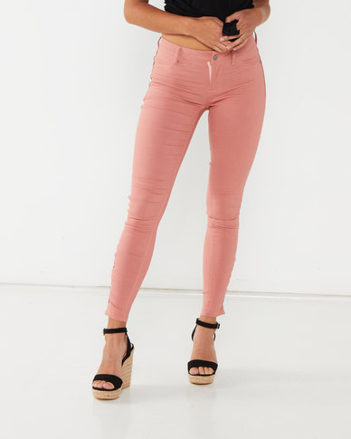 Utopia Skinny Leg With Lace Up Detail Pink