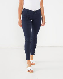 Utopia Skinny Leg With Lace Up Detail Blue