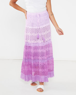 Utopia Crochet Tiered Maxi Skirt Purple