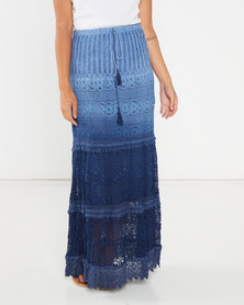Utopia Crochet Tiered Maxi Skirt Blue