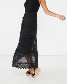 Utopia Crochet Tiered Maxi Skirt Black