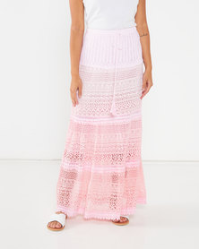 Utopia Crochet Tiered Maxi Skirt Pink