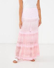 Utopia Crochet Tiered Maxi Skirt Pink