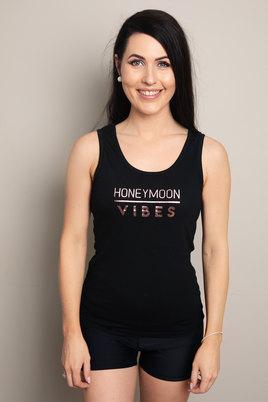 Love & Sparkles Black Honeymoon vibes vest with rose gold
