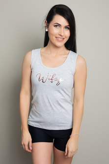 Love & Sparkles Grey Wifey Vest with Rose Gold Foil