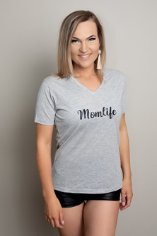 Love & Sparkles  Momlife Tee Grey