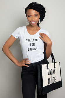 Love & Sparkles Available for Brunch black on Grey tee