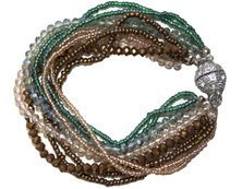 Seedbead with Glass Bracelet with Magnetic Clasp - Seagreen & Bronze