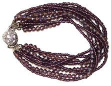 Seedbead & Glass with Magnetic Clasp Bracelet - Purple