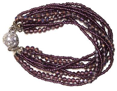 Seedbead & Glass with Magnetic Clasp Bracelet - Purple