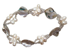Freshwater Pearl, Glass & Shell Bracelet with Stretchcord