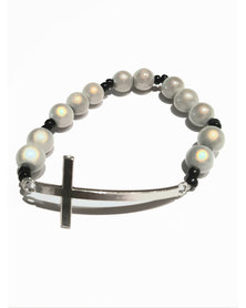 Designs by Ilana Stretch Bracelet with Cross Detail Black and White