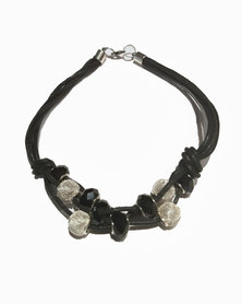 Designs by Ilana Multi Cord Necklace with Crystal Beads Black