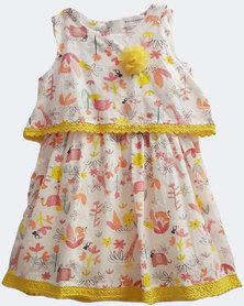 Starlight Kids Girls Forest Print Casual Dress Yellow