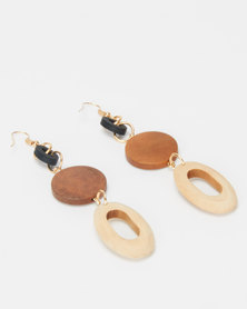 Jewels and Lace Wood Statement  Drop Earrings Brown