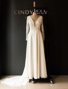Cindy Bam Long Sleeve Lace Wedding Gown Blush