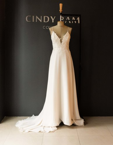 Cindy Bam One-Of-A-Kind Soft Mesh Champagne Chiffon Wedding Gown