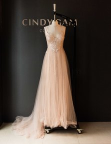 Cindy Bam Nude Sheer Lace Wedding Gown Dusty Nude